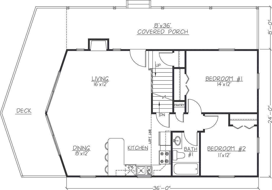 24x36 Chalet Main Floor