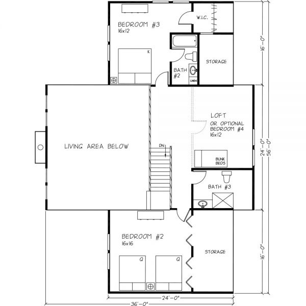 UPPER FLOOR  Grand CabinTotal Sq. Ft.= 2975
