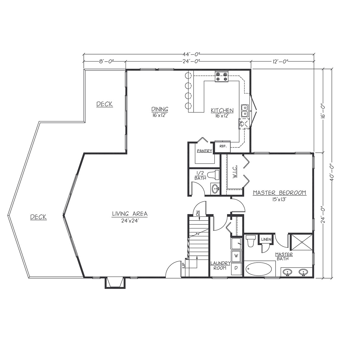 #5  MAIN FLOOR 24x44 with WingTotal Sq. Ft.= 2272
