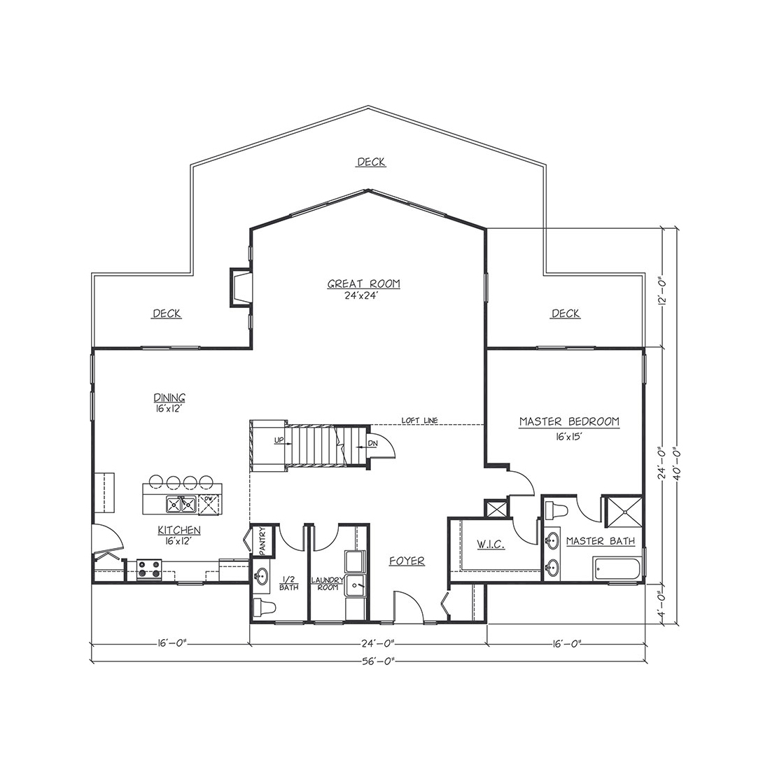 #6 MAIN FLOOR 24x36 with 2 WingsTotal Sq. Ft.= 2688