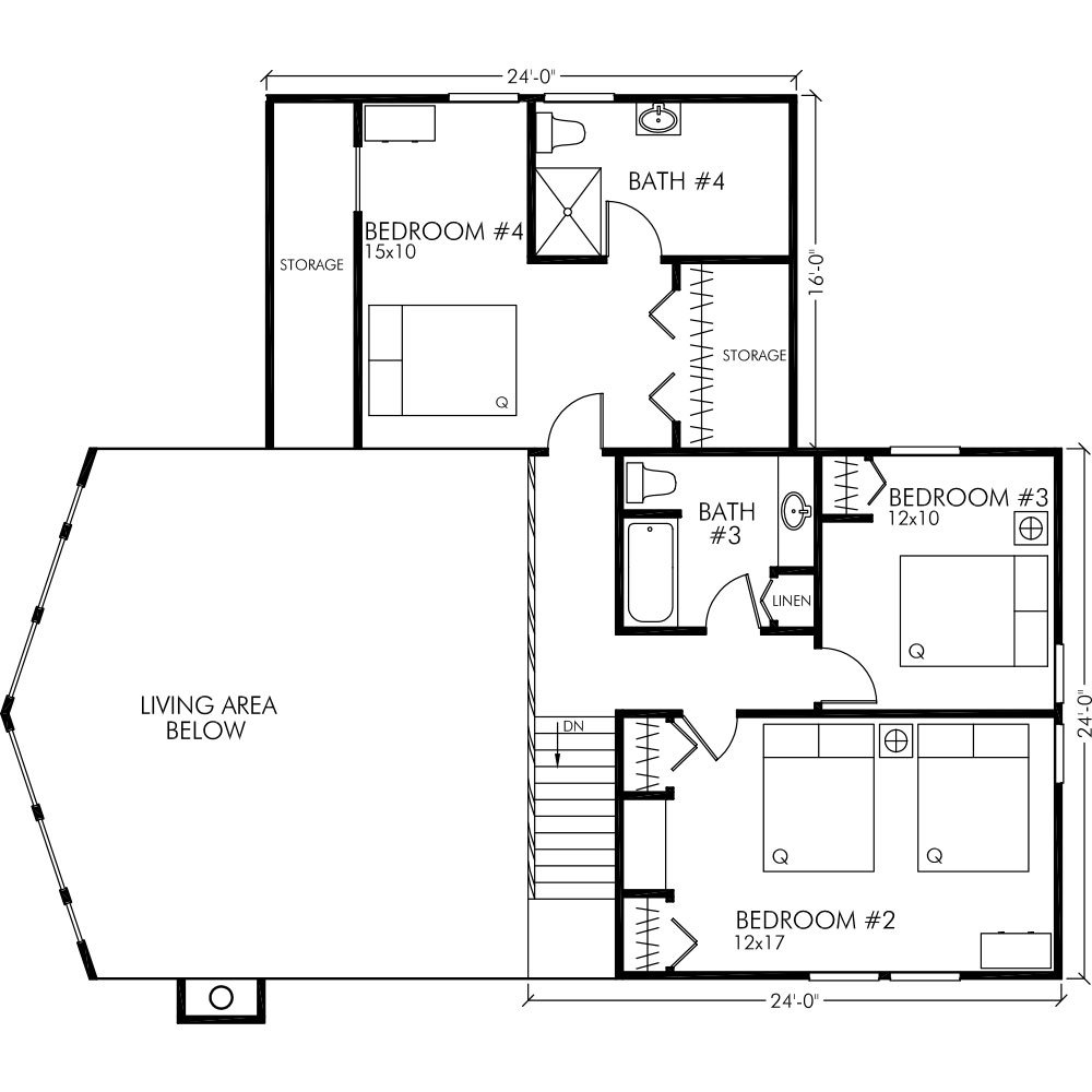 UPPER FLOOR Chalet with WingTotal Sq. Ft = 2400