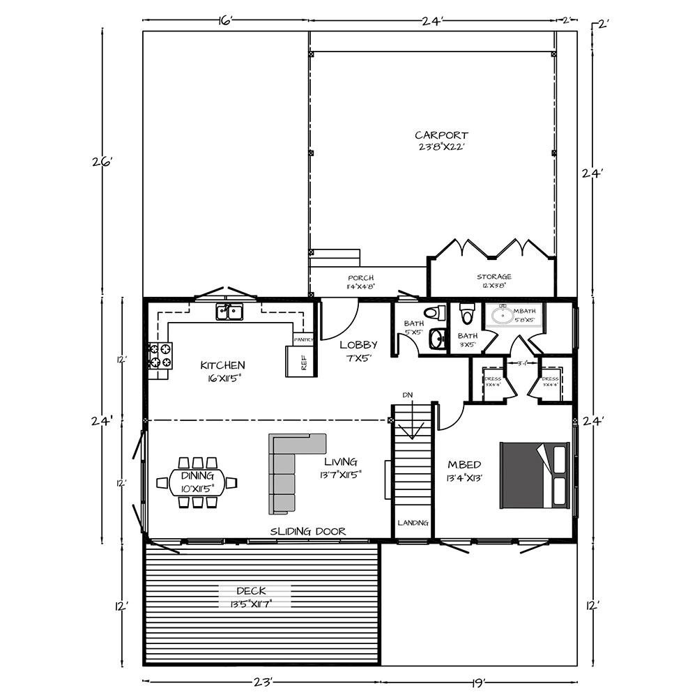 Simplicity Main Floor1008 Sq. Ft Main Level1008 Sq. Ft Lower Level2016 Total Sq Ft.