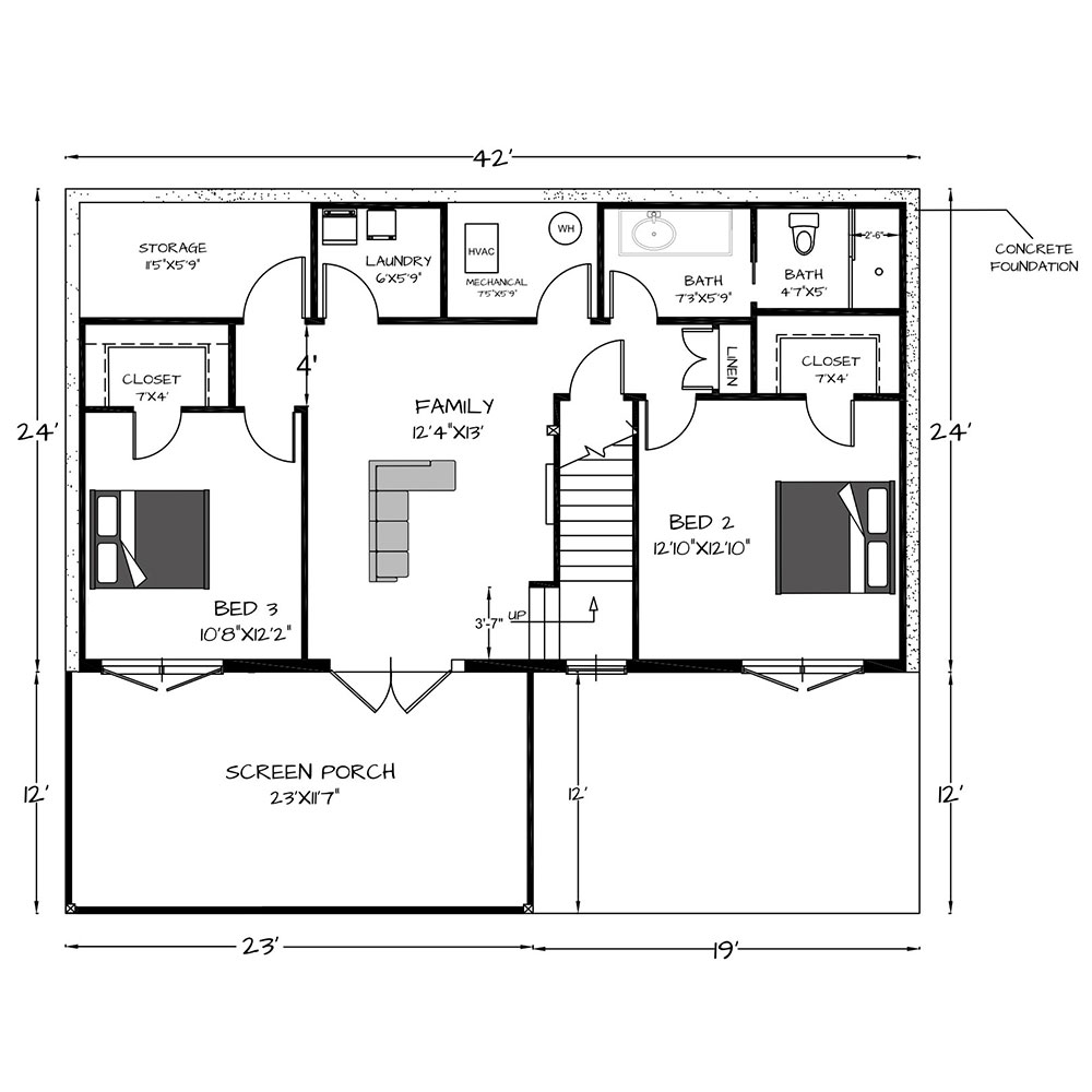 Simplicity Walkout Basement1008 Sq. Ft Main Level1008 Sq. Ft Lower Level2016 Total Sq Ft.